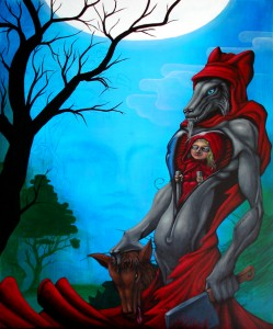 Humaniod Little Red Riding Hood - acrylic on canvas 100 x 120 cm